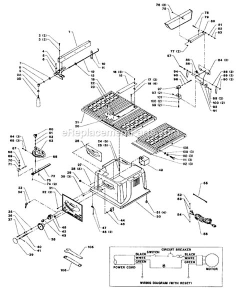 delta bench saw parts delta 36 540 parts list and diagram type 1