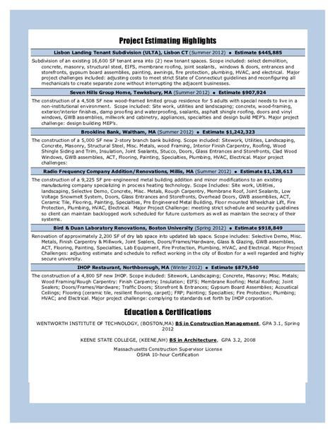 Structural Steel Estimator Sle Resume by Construction Management Resume 9 30 12