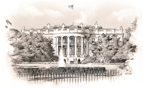 white house drawing illustration richard fox art