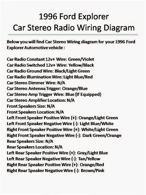 1996 ford explorer stereo wiring diagram 40 wiring