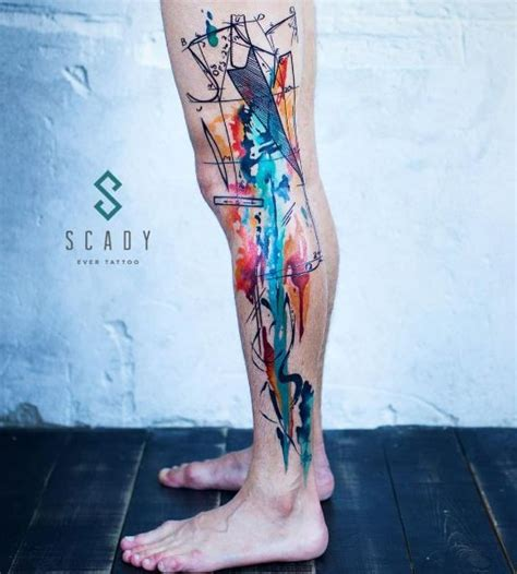 watercolor tattoo barcelona colorful abstract leg watercolor tattoos