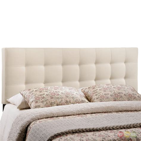 contemporary fabric button tufted headboard ivory