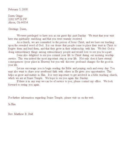 time visitor follow up letters