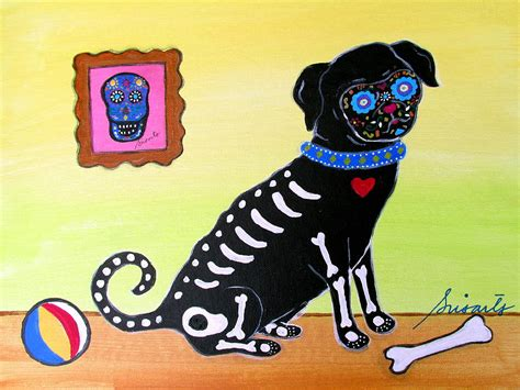 pug of the day day of the dead pug painting by pristine cartera turkus