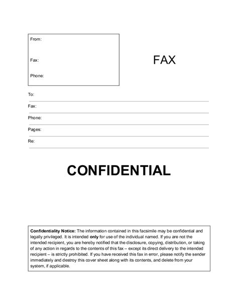 confidential cover letter fax cover sheet template printable fax cover page sle