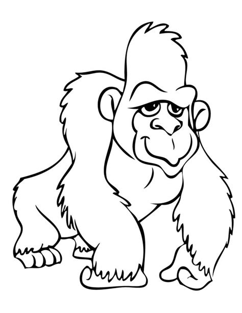 free coloring page of a gorilla gorilla 7 animals printable coloring pages