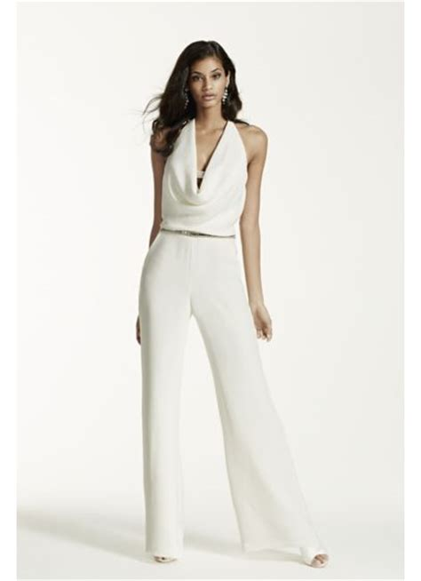 Ivory Wedding Jumpsuit with Cowl Neck   David's Bridal