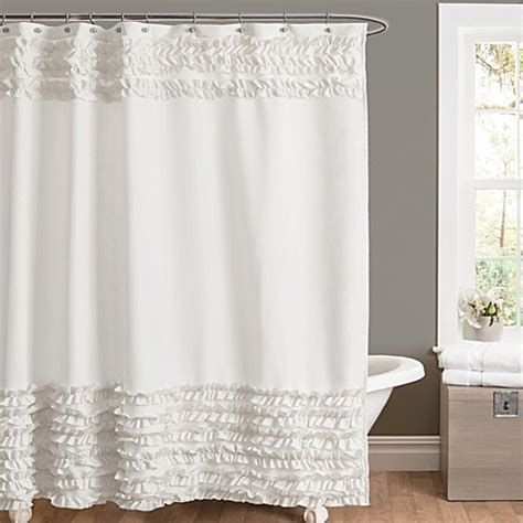 white ruffled shower curtain amelie ruffle 72 inch x 84 inch shower curtain in white