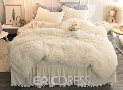 vivilinen solid white simple style quilting bed skirt  piece fluffy bedding setsduvet cover