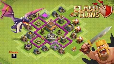 coc layout for th4 clash of clans th4 defense best war base layout youtube