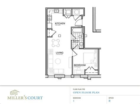one bedroom open floor plans floor plans