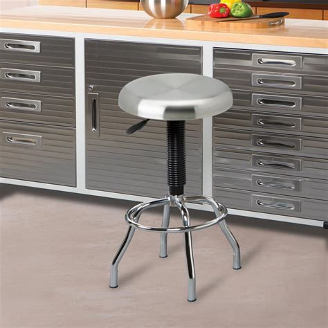 Stainless Steel Bar by Seville Classics Adjustable Height Brushed Stainless Steel
