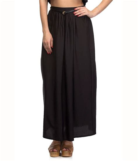 buy oxolloxo black polyester maxi skirt at best
