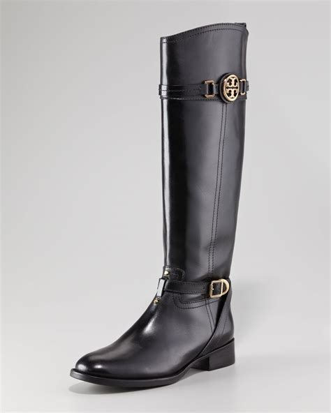 burch black boots burch calista leather logo knee high boots
