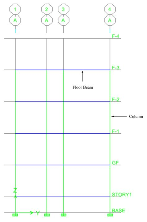 paper column floor l four storied building with interior and without interior