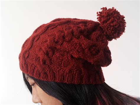 beanie knit pattern cabled slouch beanie allfreeknitting