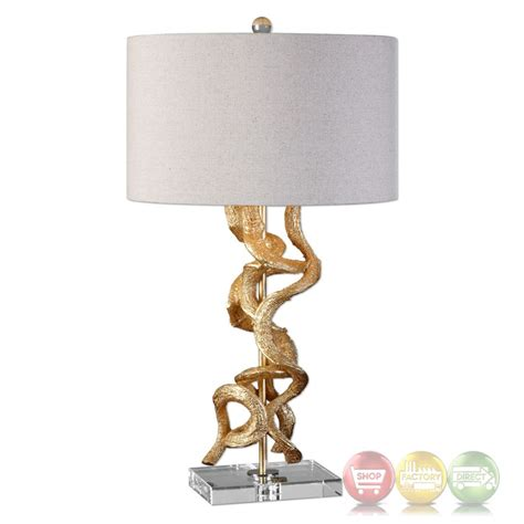 Unique Table Lamps by Unique Table Lamp In Bright Gold With Twisted Vine Detail