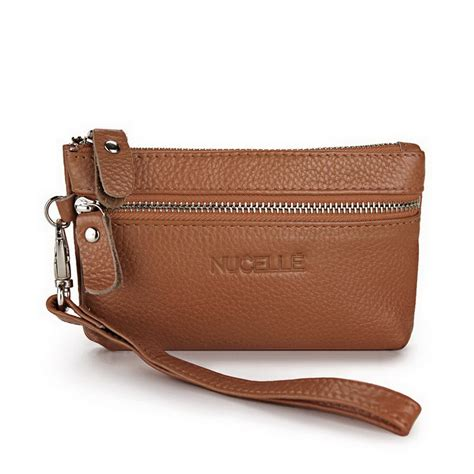 genuine leather clutch bag coffee
