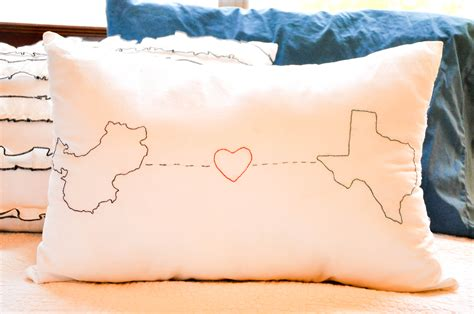 Pillow Distance by In Between Laundry Embroidered Geography Pillow