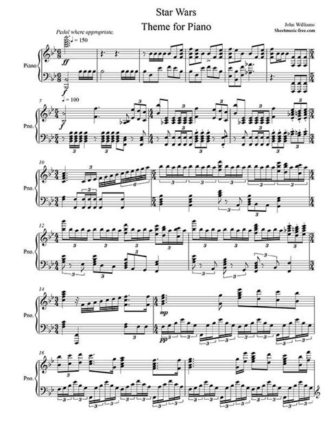 theme music download free star wars piano sheet music star wars theme piano sheet