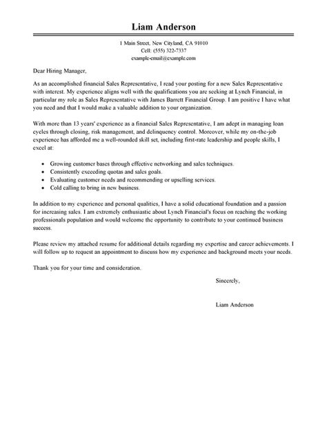 Cover Letter Exles Sle Sales Representative Cover Letter Exles Accounting Finance Cover Letter Exles Livecareer