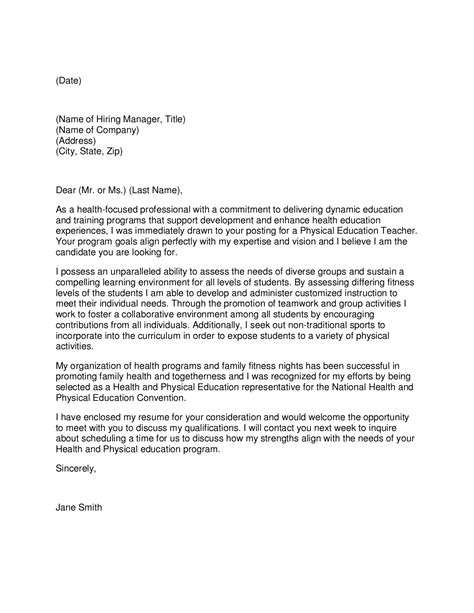 cover letter exles for pe professional cover letter physical education