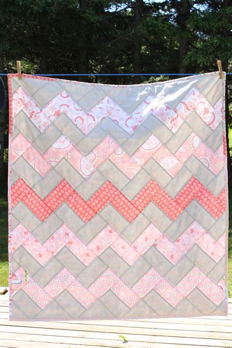 Pink Chevron Quilt by Baby Quilt Pink And Grey Chevron