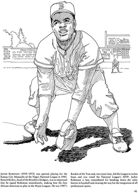 coloring page for jackie robinson sports pages jackie robinson coloring sheets