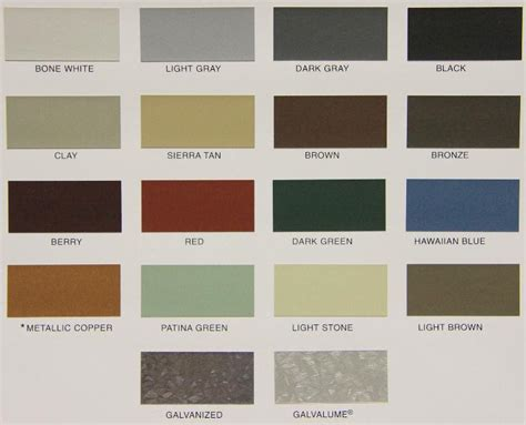 metal roofing siding color chart images