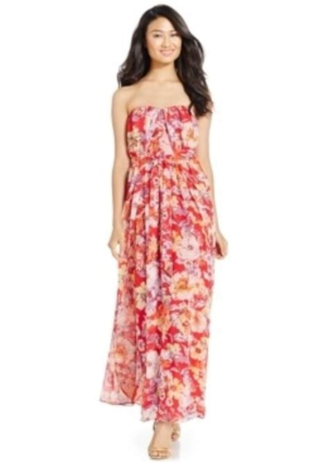 Wst 10043 Silhouette Dress Sale nine west nine west floral print strapless gown dresses