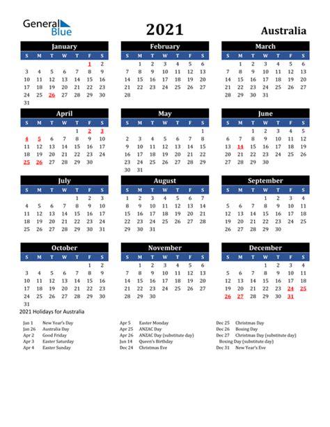 calendar australia  holidays