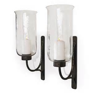 Hurricane Sconce Pescara Contemporary Rustic Iron And Glass Candle Sconces