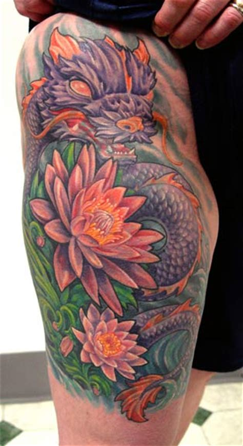 tattoo dragon and flower dragon and flowers by steve morris tattoonow