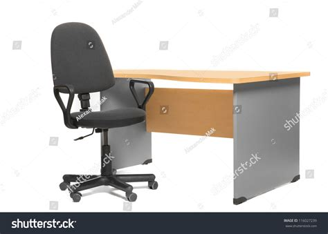 office desk and chair isoalted on white stock photo