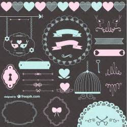 vector vintage love wedding ornaments and decorative