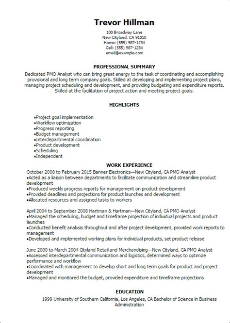 Energy Analyst Cover Letter by Professional Pmo Analyst Resume Templates To Showcase Your Talent Myperfectresume