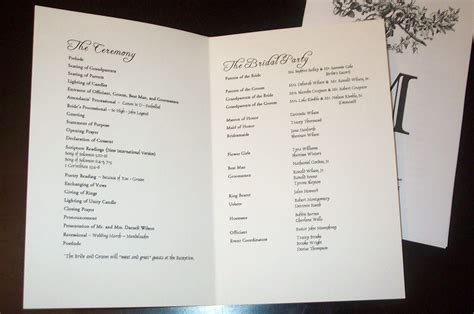 wedding church programs examples