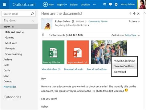 drive outlook save your outlook com email attachments to onedrive in one