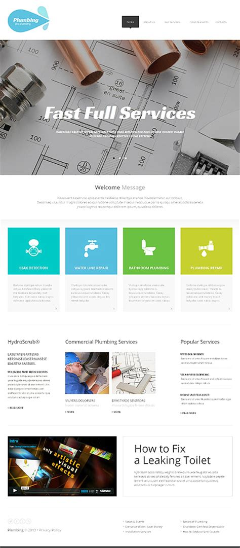 White Plumbing Website Template By Delta Plumbing Responsive Website Template 47605 Buy Web Templates