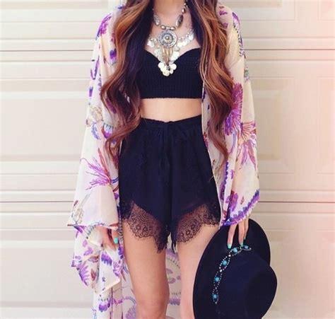 Softlens X2 Lace Black Series shorts tank top blouse hat jewels kimono cardigan t shirt crop tops black lace