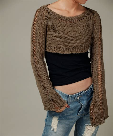 19494 Knit Crop Import knit cropped sweater cover up top mocha