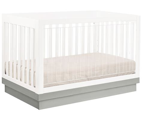 Harlow 3 In 1 Convertible Crib Babyletto Harlow 3 In 1 Convertible Crib With Toddler Rail White Gray