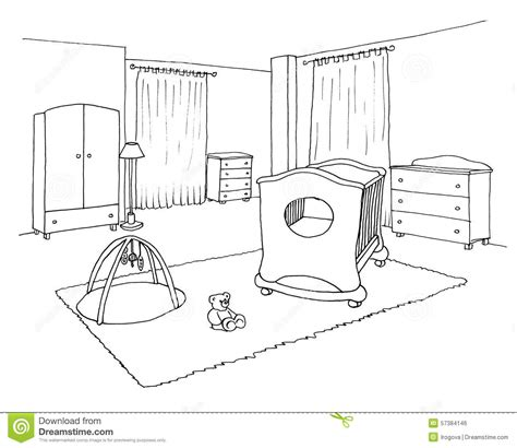 Kids room graphical sketch stock illustration. Illustration of graphic 57384146