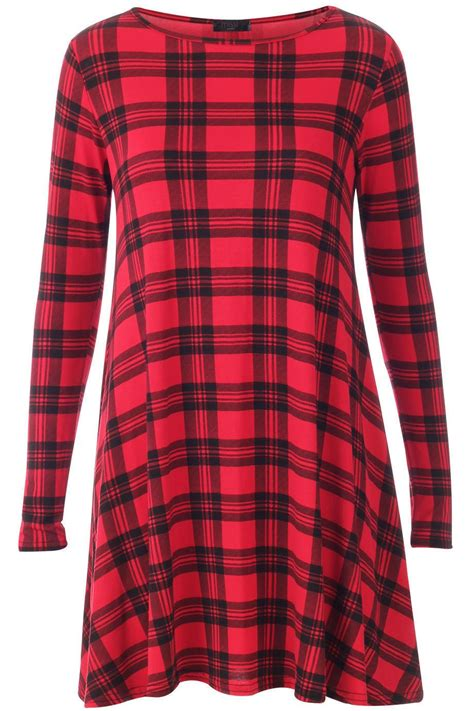 Tartan Longtop womens tartan leopard tiger print sleeve swing dress tunic top 8 26 ebay