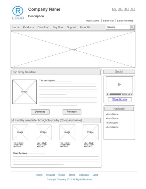Website Design Wireframe Exles And Templates Free Website Wireframe Templates