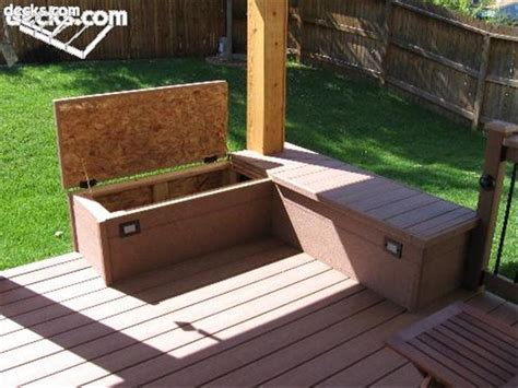 Deck Storage Bench Building Built In Deck Benches Storage Area Bench Bonanza Deck Benches