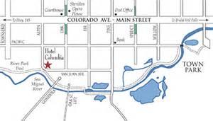 map of colorado telluride location hotel columbia telluride
