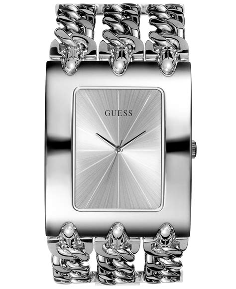 guess silver guess s silver tone multichain bracelet 40x48mm