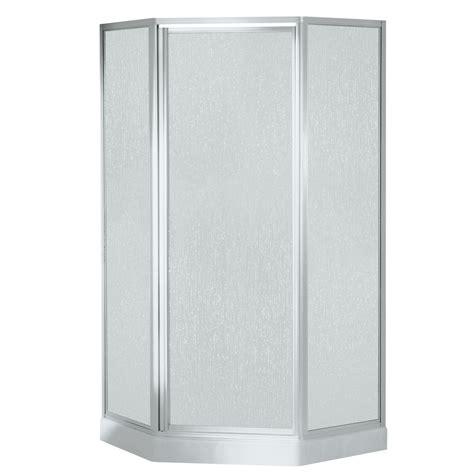 Sterling Neo Angle Shower Kit Reviews Shop Sterling White Fiberglass Neo Angle 5 Corner