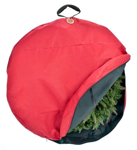 wreath storage bag with direct suspend handle in